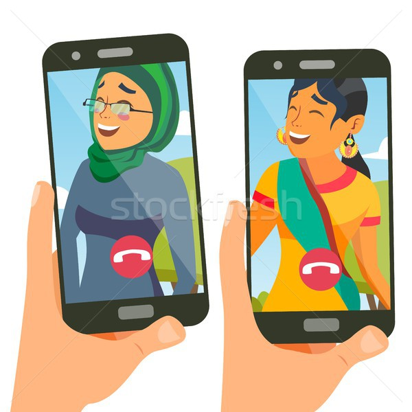Chatting Vector. Talking Design. Social Media Service. Smartphone. On-line Chat App. Speaking Girl.  Stock photo © pikepicture