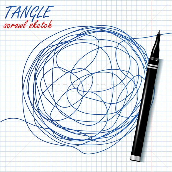 Tangle Scrawl Sketch Vector. Drawing Circle. Abstract Scribble Shape. Abstract Metaphor. Illustratio Stock photo © pikepicture