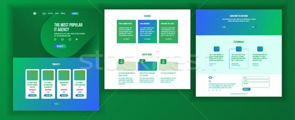 Website design sjabloon vector business landing web Stockfoto © pikepicture