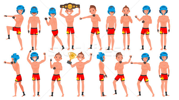 Jugador masculina vector muay thai muscular deportes Foto stock © pikepicture
