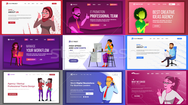 Main Web Page Design Vector. Website Business Screen. Landing Template. Innovation Idea. Office Inve Stock photo © pikepicture