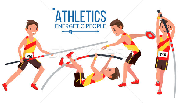 Athletics Player Male Vector. Athletic Sport Competition. Sports Equipment. Sprinter. Sprint Start.  Stock photo © pikepicture