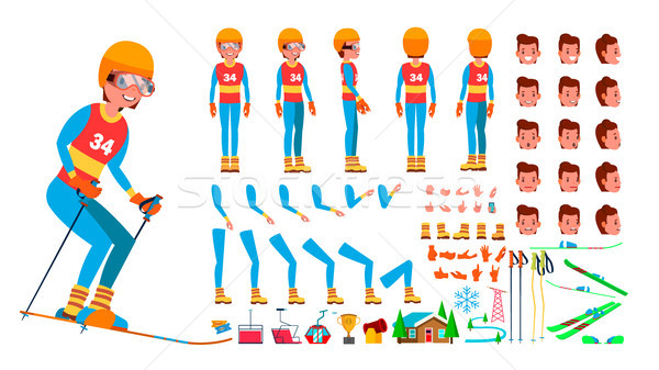 Stock photo: Skiing Player Male Vector. Animated Character Creation Set. Man Full Length, Front, Side, Back View,