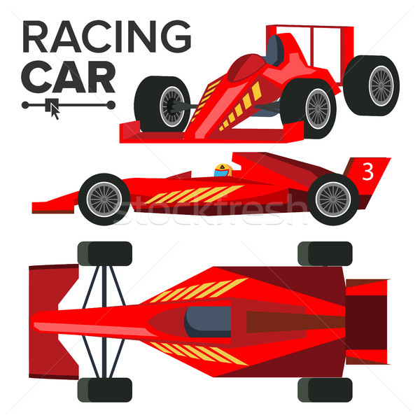 Racing Car Bolid Vector. Sport Red Racing Car. Front, Side, Back View. Auto Drawing. Illustration Stock photo © pikepicture