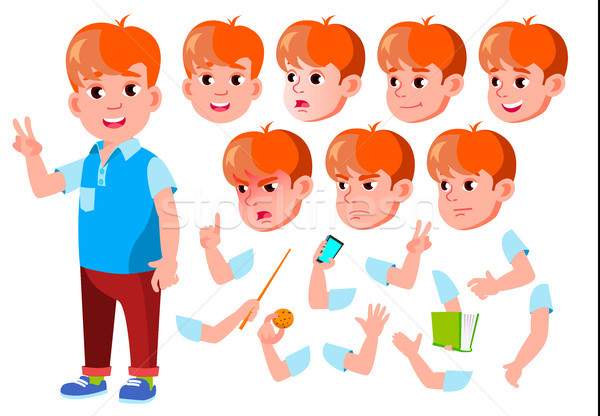 Boy, Child, Kid, Teen Vector. Casual Clothes. Positive. Face Emotions, Various Gestures. Animation C Stock photo © pikepicture