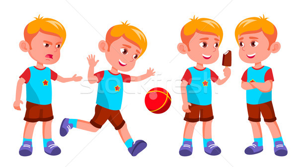 Boy Kindergarten Kid Poses Set Vector. Kiddy, Child Expression. Junior. For Postcard, Cover, Placard Stock photo © pikepicture