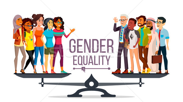 Gender Equality Vector. Man, Woman, Male, Female On Scales. Equal Opportunity. Isolated Flat Cartoon Stock photo © pikepicture