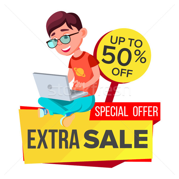 Big Sale Banner Vector. School Children, Pupil. Kids School Shopping. Half Price Colorful Stickers.  Stock photo © pikepicture