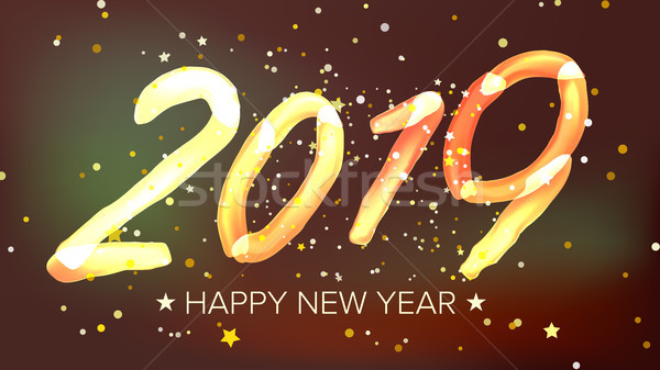 2019 Happy New Year Background Vector. Glow Neon Light. Greeting Card, Brochure, Flyer Template Desi Stock photo © pikepicture