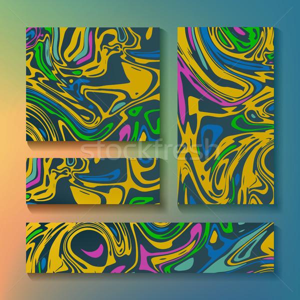 Craft Liquid Texture Vector. Handmade Watercolor Paint Abstract Background Illustration. Artwork Aqu Stock photo © pikepicture