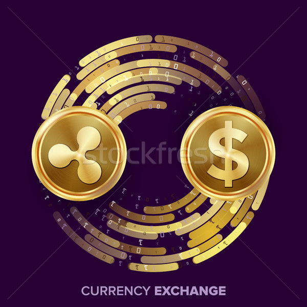 Digital Currency Money Exchange Vector. Ripple Coin, Dollar. Fintech Blockchain. Gold Coins With Dig Stock photo © pikepicture