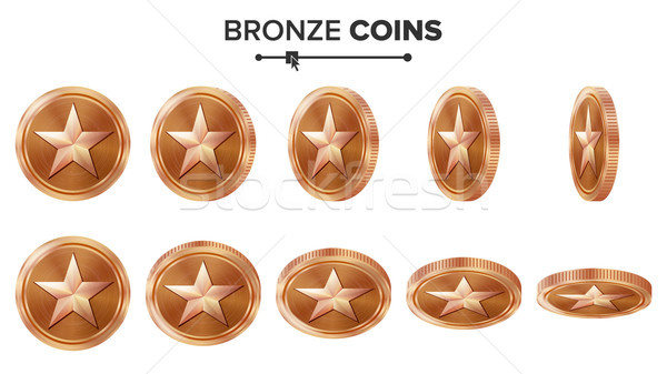 Game 3D Bronze Coin Vector With Star. Flip Different Angles. Achievement Coin Icons, Sign, Success,  Stock photo © pikepicture
