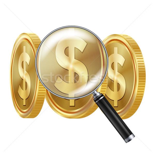 Dólar lupa vetor negócio financeiro isolado Foto stock © pikepicture