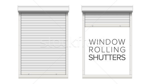 Window With Rolling Shutters Vector. Opened And Closed. Front View. Isolated On White Illustration. Stock photo © pikepicture