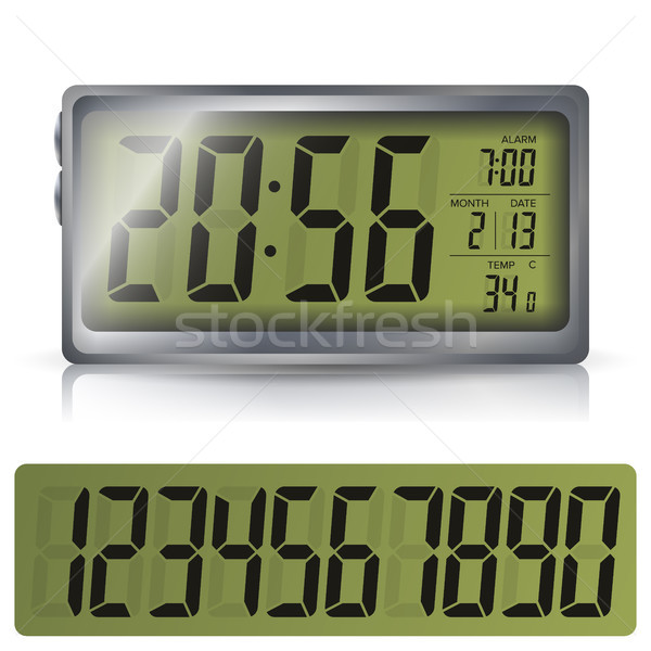 Stock photo: Alarm Clock Vector. Retro Liquid-Crystal Alarm Clock. Isolated Illustration
