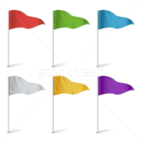 Map Pointer Flags Vector. Flag Collection Isolated. Concept Of Route, Landmark, Adventure Illustrati Stock photo © pikepicture