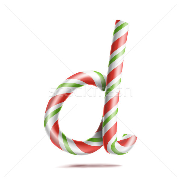 Letter D Vector. 3D Realistic Candy Cane Alphabet Symbol In Christmas Colours. New Year Letter Textu Stock photo © pikepicture