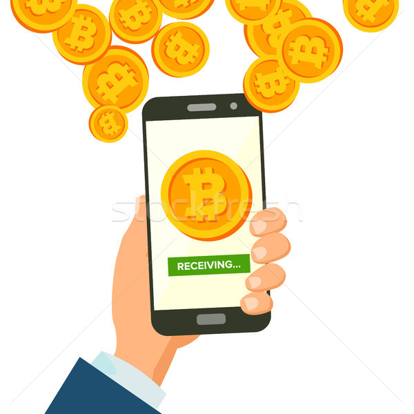 Mobile Bitcoin Receiving Concept Vector. Modern Finance Economic. Wireless Bitcoin Finance Receiving Stock photo © pikepicture