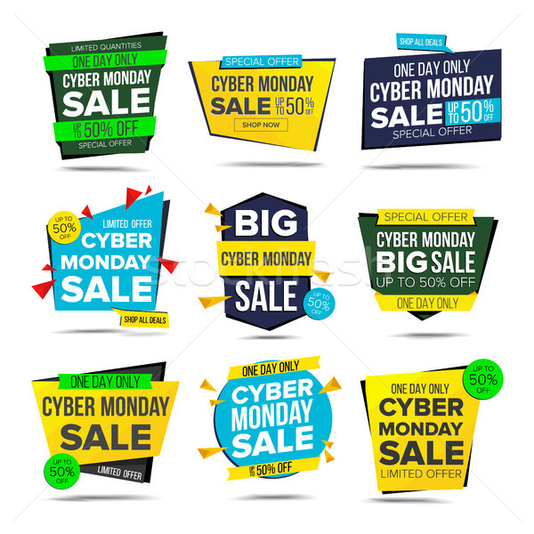 Cyber Monday Sale Banner Vector. Monday Advertising Element. Isolated On White Illustration Stock photo © pikepicture