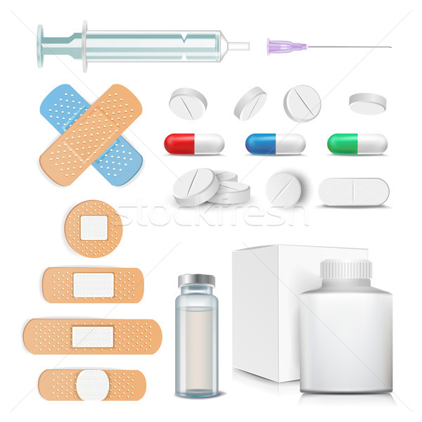 Medical Items Set Vector. Pills, Drugs, Ampoule, Syringe, Patch. Isolated Illustration Stock photo © pikepicture