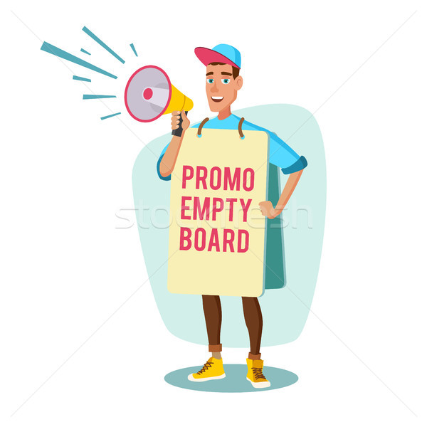 Human Billboard Vector. Man Holding Empty Board. Social Or Political Movement. Isolated Flat Cartoon Stock photo © pikepicture