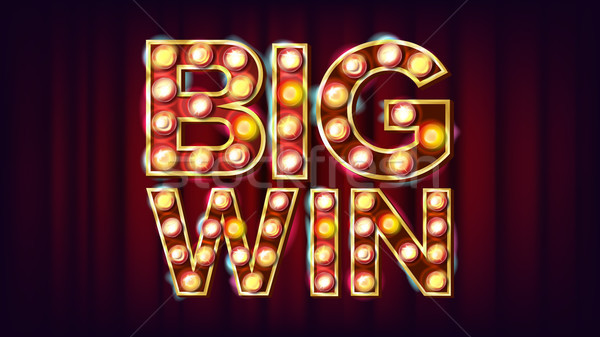 Big Win Banner Vector. Casino 3D Glowing Element. For Advertising Design. Modern Illustration Stock photo © pikepicture