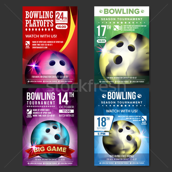 Bowling Poster Set Vector. Design For Sport Bar Promotion. Bowling Ball. Modern Tournament. Sport Ev Stock photo © pikepicture