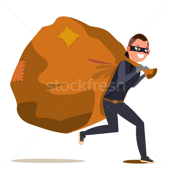 Bandit With Bag Vector. Isolated Flat Cartoon Character Illustration Stock photo © pikepicture