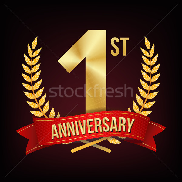 1 Year Anniversary Vector. One, First Celebration Banner. Gold Digit Sign. Number One. Laurel Wreath Stock photo © pikepicture
