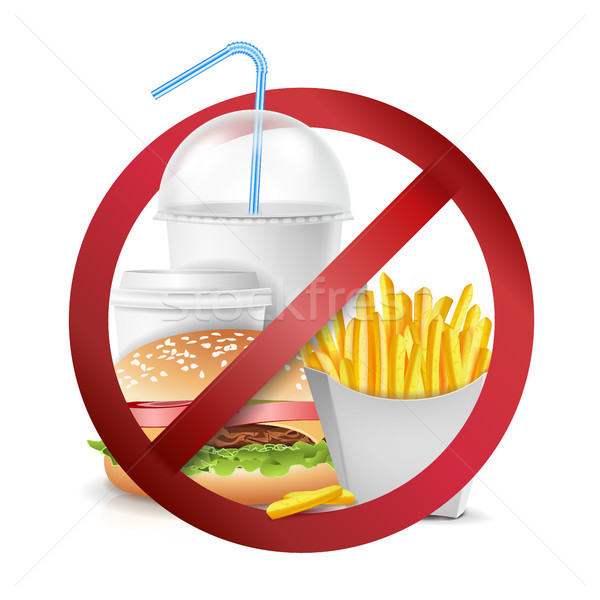 Fast Food Danger Vector. No Food Allowed Symbol. Isolated Realistic illustration. Stock photo © pikepicture