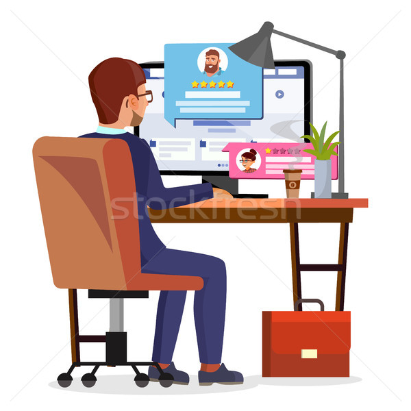 Man Writing Client Testimonial On Internet Online Store Vector. Vote, Feedback, Rating, Liked. Isola Stock photo © pikepicture