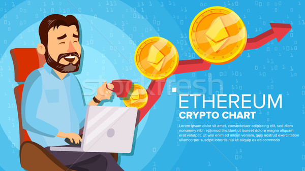 Ethereum Up Trend, Growth Concept Vector. Trade Chart. Virtual Money Happy Man Investor. Crypto Curr Stock photo © pikepicture
