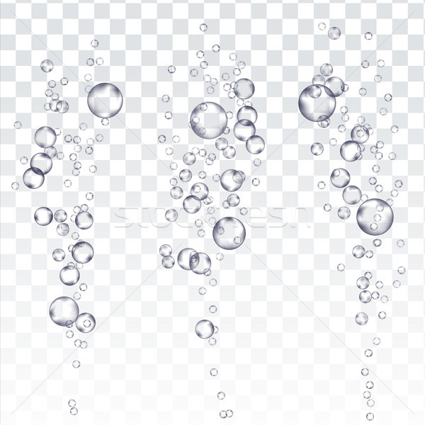 Underwater Bubbles Vector. Fizzy Aqua Sparkles In Water, Undersea. Effervescent Medicine. Transparen Stock photo © pikepicture