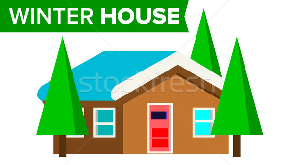Winter House Vector. Wooden Home With Snow. Forest Traditional Cottage. Winter Time. Isolated Flat I Stock photo © pikepicture