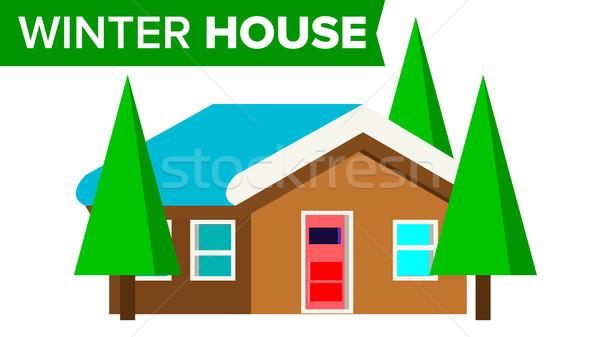 Tél ház vektor fából készült otthon hó Stock fotó © pikepicture