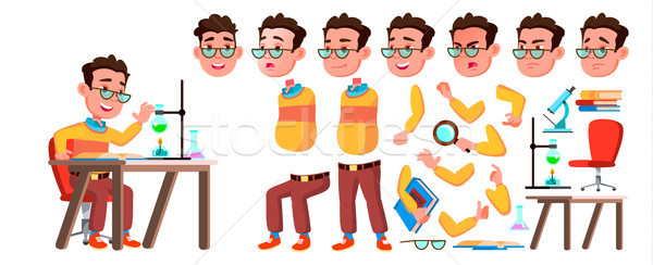 Boy Schoolboy Kid Vector. High School Child. Animation Creation Set. Face Emotions, Gestures. Teachi Stock photo © pikepicture