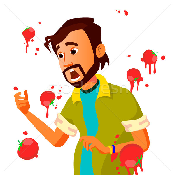 Businessman Having Tomatoes Fail Speech Vector. Unsuccessful Presentation. Bad Public Speech. Indian Stock photo © pikepicture