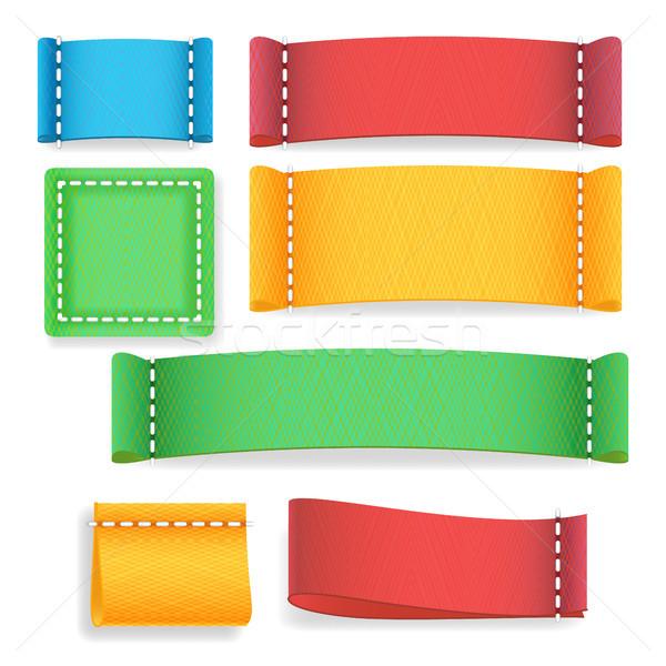 Foto stock: Cor · etiqueta · tecido · vetor · diferente · cores