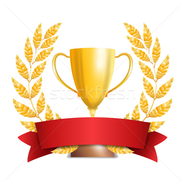Golden Trophy Cup With Laurel Wreath And Red Ribbon. Award Design. Winner Concept. Isolated On White Stock photo © pikepicture