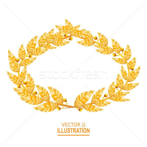 Laurel Crown. Greek Wreath With Golden Leaves. Vector Illustration Stock photo © pikepicture