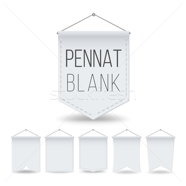 White Pennant Template Set Vector. Empty Realistic Pennants Banners Mock Up. Different Forms. Illust Stock photo © pikepicture
