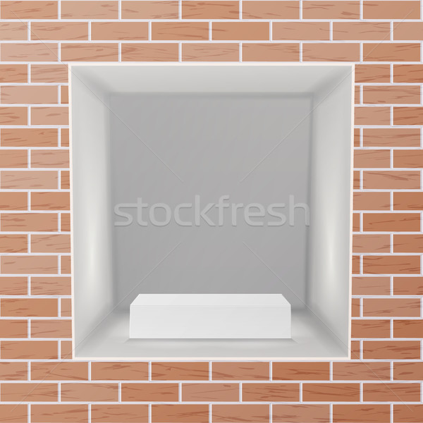 Empty Niche Vector. Realistic Brick Wall. Clean Shelf, Niche, Wall Showcase. Good For Presentations, Stock photo © pikepicture