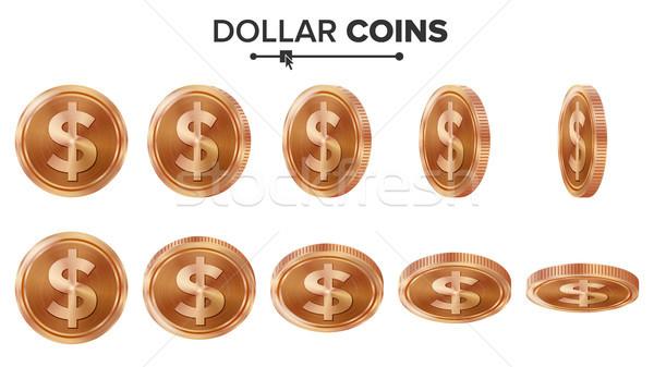 Pénz dollár 3D réz érmék vektor Stock fotó © pikepicture