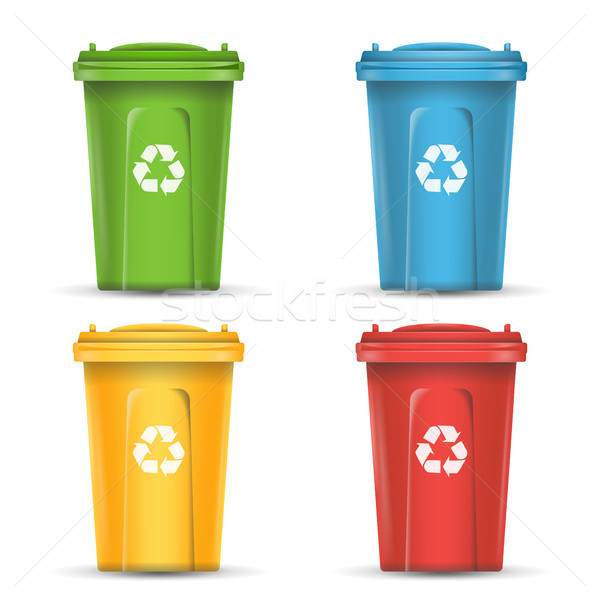 Realistic Containers For Recycling Waste Sorting Vector. Set Of Red, Green, Blue, Yellow Buckets. Stock photo © pikepicture