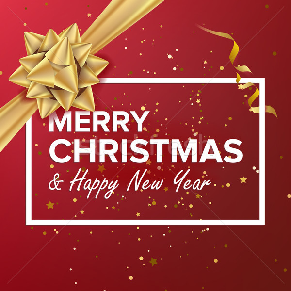 Merry Christmas And Happy New Year Vector. Christmas Greeting Card. Realistic Bow. Xmas Modern New Y Stock photo © pikepicture