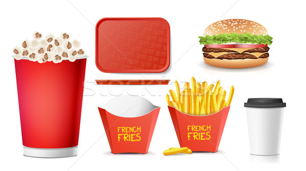 3D fast food vector smakelijk hamburger hamburger Stockfoto © pikepicture