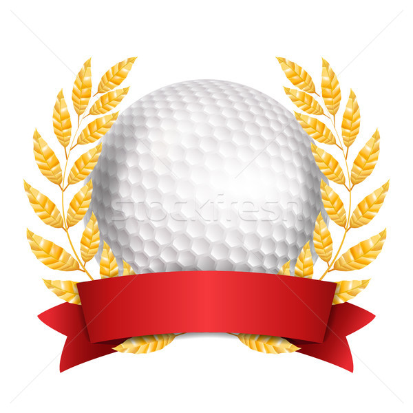 Golf Award Vector. Sport Banner Background. White Ball, Red Ribbon, Laurel Wreath. 3D Realistic Isol Stock photo © pikepicture