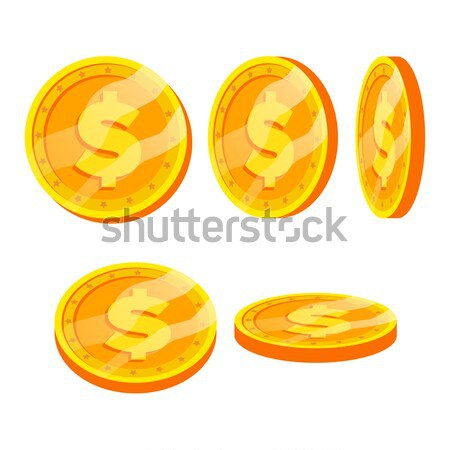 Dollar Gold Coins Sign Vector Set. Flat, Cartoon. Flip Different Angles. Currency Money. Investment  Stock photo © pikepicture