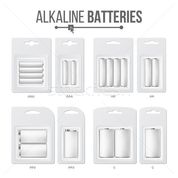 Batteries Packed Set Vector. Different Types AAA, AA, C, D, PP3, 9 Volt. Alkaline Battery In Blister Stock photo © pikepicture
