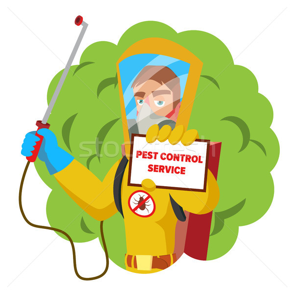 Anti Microbes Sanitation Vector Concept. Worker Spraying Pesticide. Chemical Protective Suit Termite Stock photo © pikepicture
